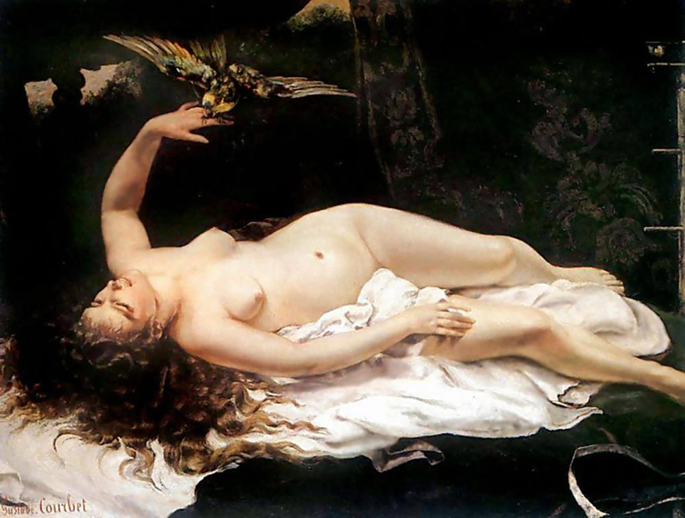 Gustave Courbet (Ornans 1819 - Svizzera 1877) - Donna che gioco con un pappagallo