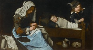 Woman Sewing with Two Children