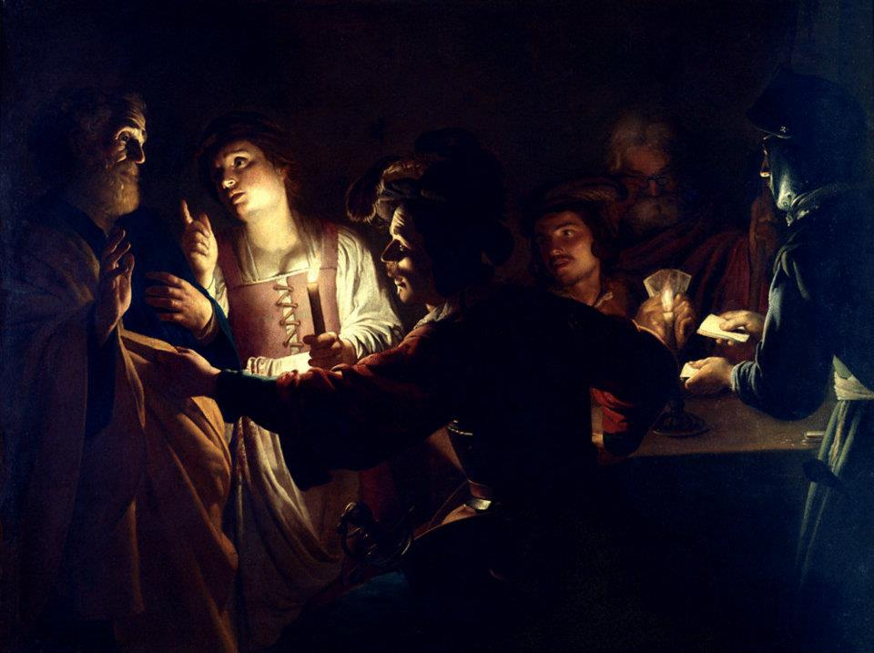 Caravaggisti Gerrit van Honthorst - De Verloochening van Sint Petrus
